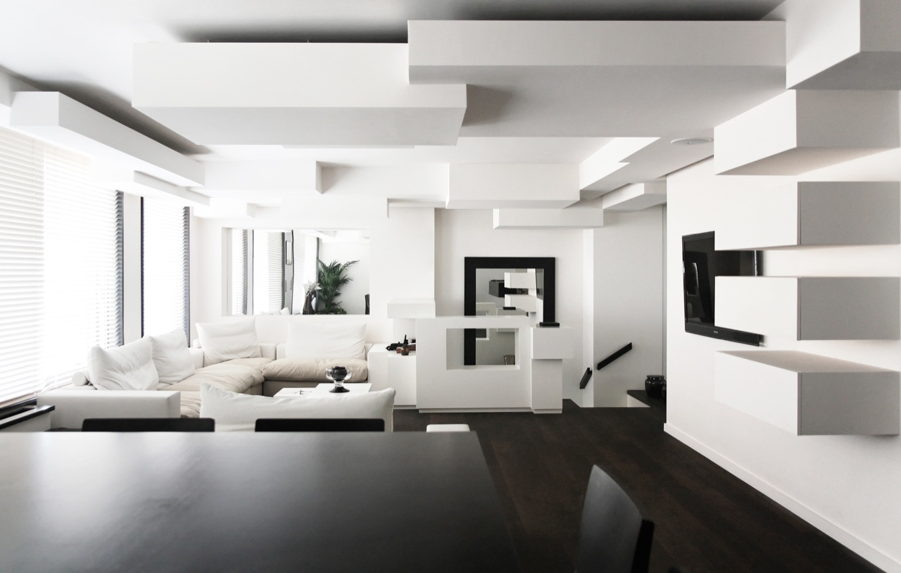 Monochrome Duplex Apartment remodeling in Paris by Pascal Grasso ...