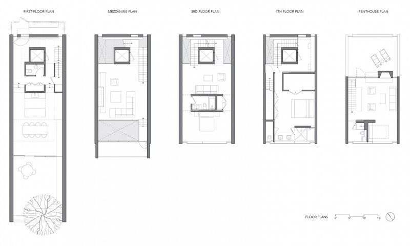 Urban townhouse by gluck for Urban townhouse floor plans