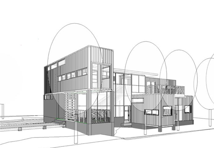 How to convert five shipping containers into a cozy modern home - Shipping container home plans pdf ...