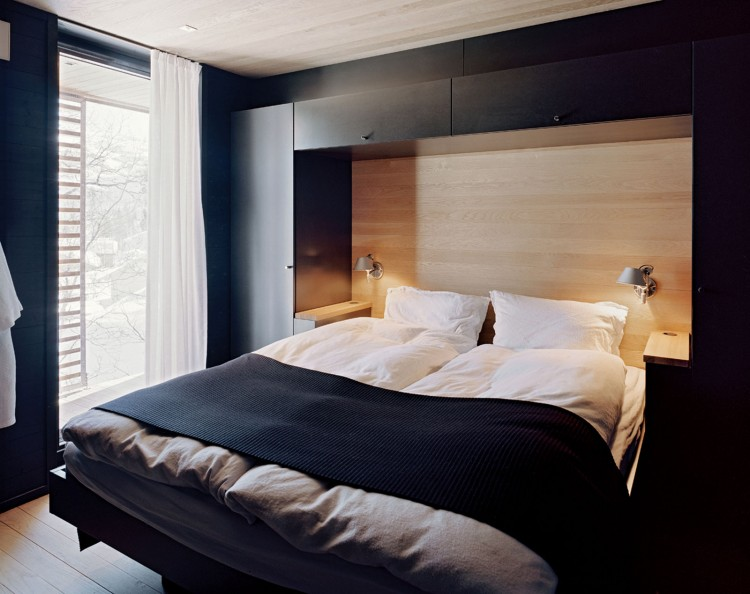 Contemporary mountain lodge in norway for Mountain modern bedroom
