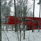 Two Sisters Red House in Langstini, Latvia by NRJA