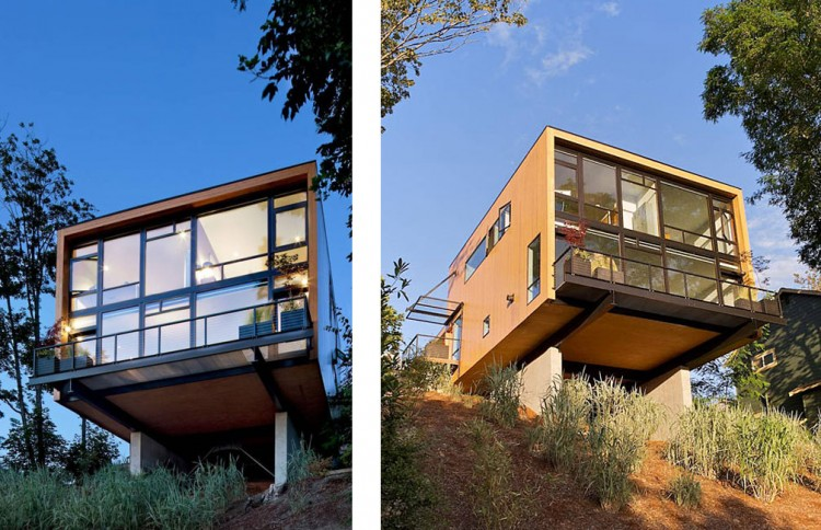 cantilevered house in seattle by replinger hossner architects. Black Bedroom Furniture Sets. Home Design Ideas
