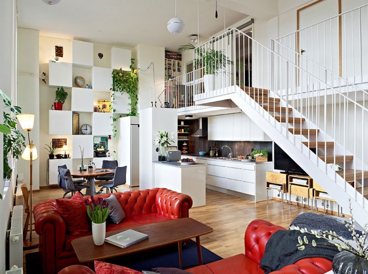 Scandinavian design beautiful apartment with mezzanine in gothenburg sweden - British interior design style pragmatism comes first ...