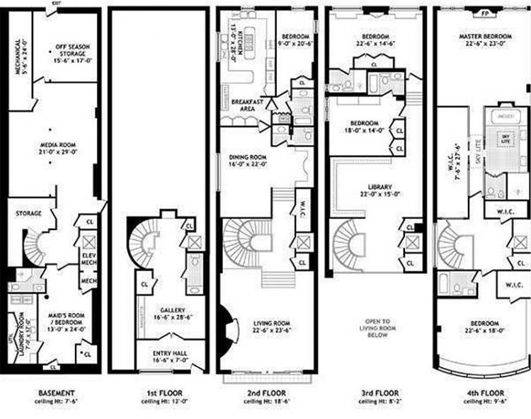 What kind of townhouse does 18 million buy in manhattan for Stacked townhouse floor plans