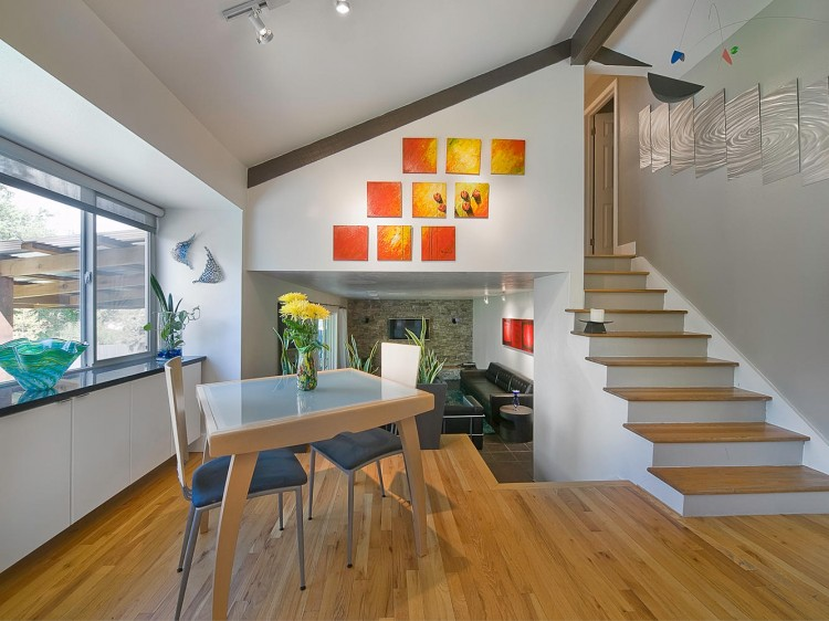 Groovy art filled tri level in denver for Quad level home remodel