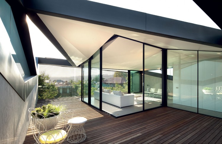 Pitched Roof House by Chenchow Little on modern vaulted roof houses, modern house with roof pitch, roof eaves on houses, modern bungalow house design, modern slanted roof houses, gable end vents for houses, icelandic turf houses, modern a frame house, modern home roof designs,