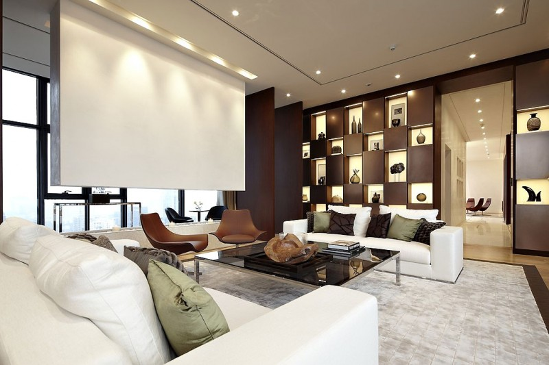 Amazing duplex penthouse in china by kokaistudios for Interior design for duplex living room