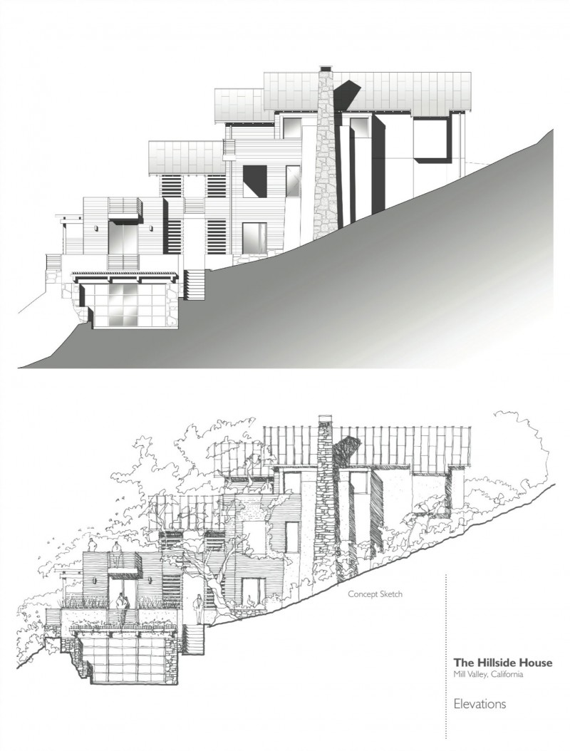 Hillside house by sb architects for Mountain bridge floor plans