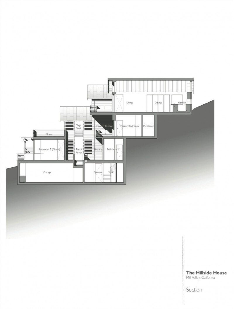 Hillside house by sb architects for Hillside house plans with garage underneath