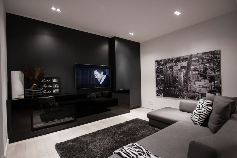 Belvedere Residence By Guido Constantino - Black wall behind tv