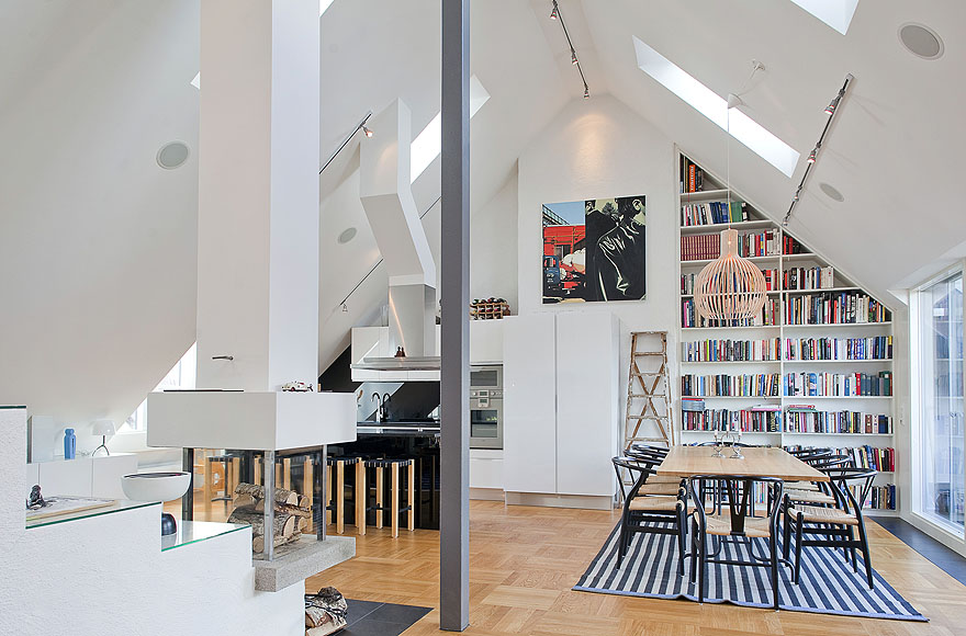 Scandinavian design impressive attic penthouse in for Dachgeschosswohnung design