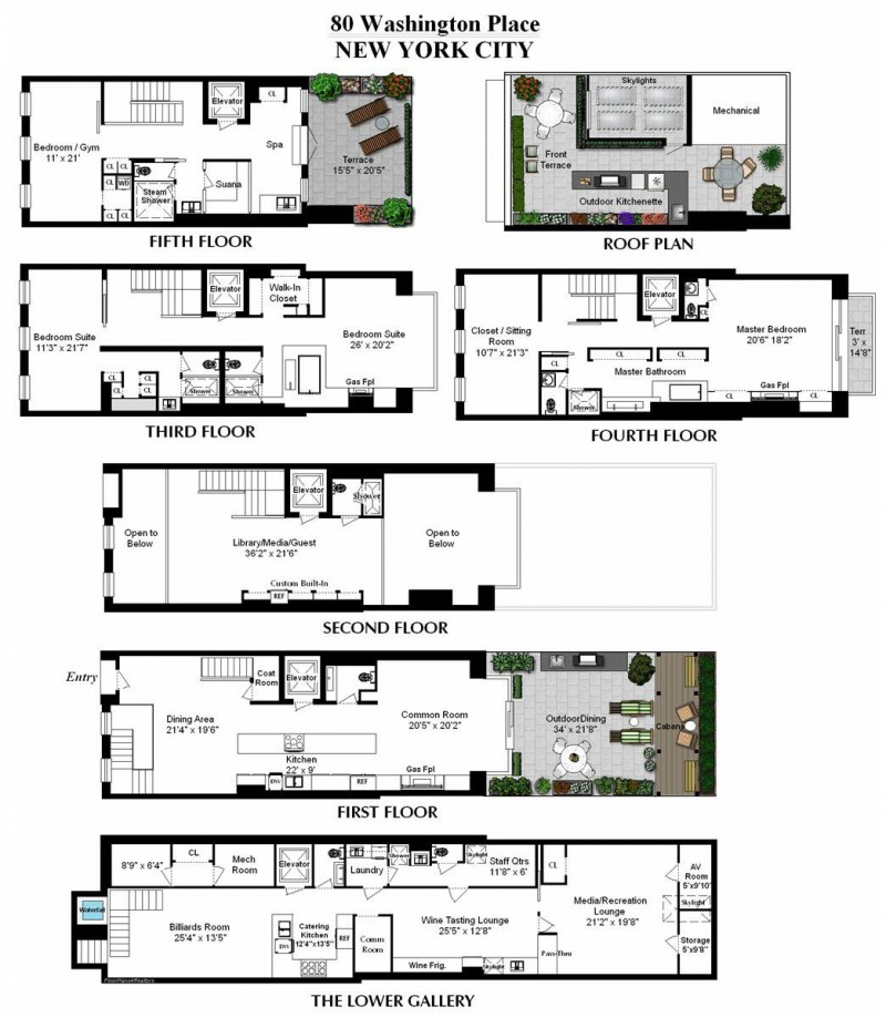 New york city townhouse floor plans for City house plans