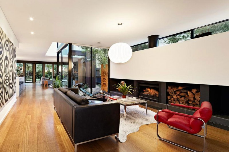 red interior design northcote