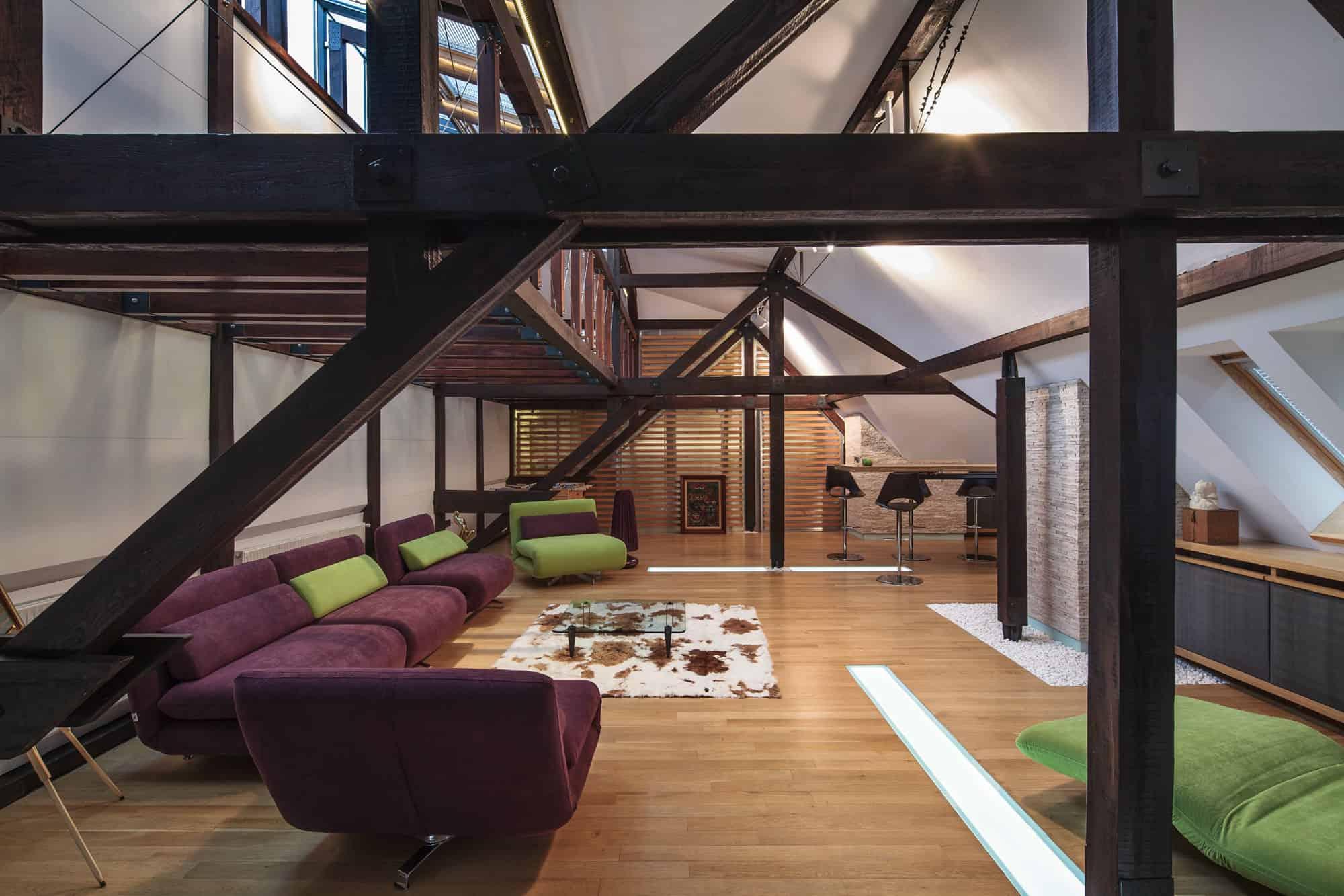 amusing attic loft interior design | A Renovated Loft in Bucharest by TECON