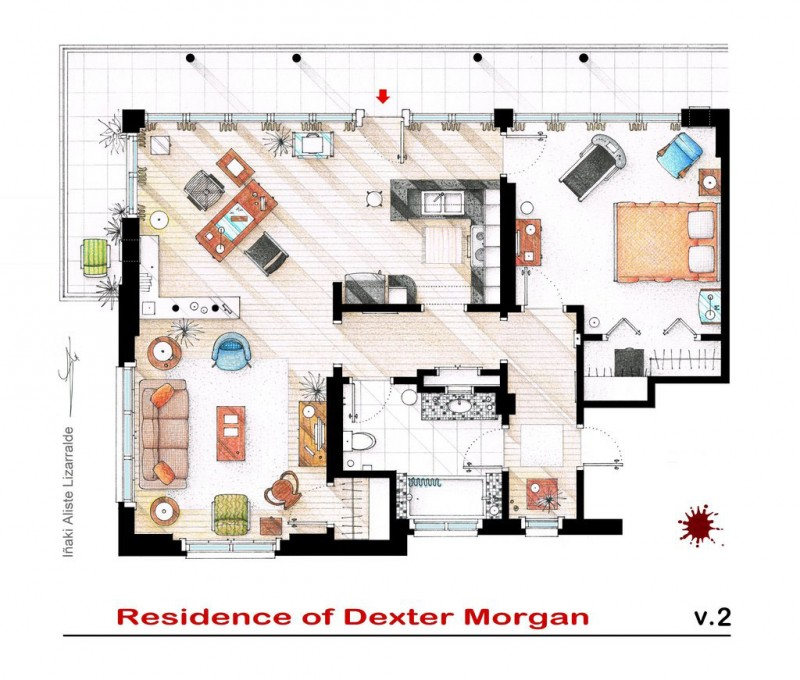 Hand Drawn TV Home Floor Plans by I aki Aliste Lizarralde – Home Floor Plans With Interior Photos