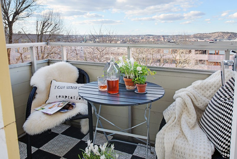 Scandinavian design: trendy apartment on mountain road