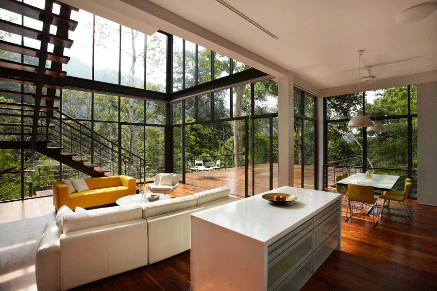 Contemporary House Interior. The Deck House by Choo Gim Wah Architect