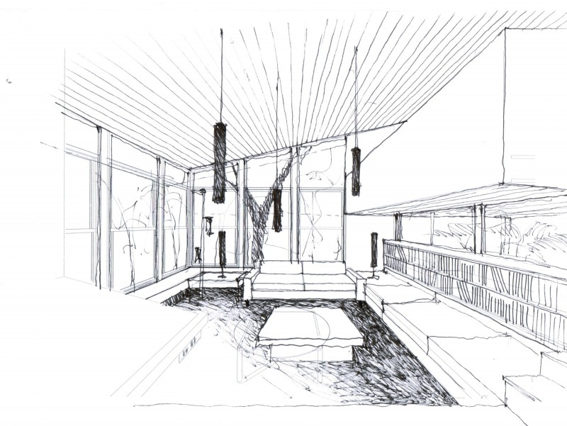 York bay addition by paul rolfe architects for Modern house design sketch
