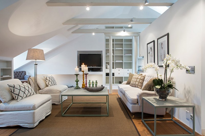 & Scandinavian Design: an Elegant Attic by Karlaplan