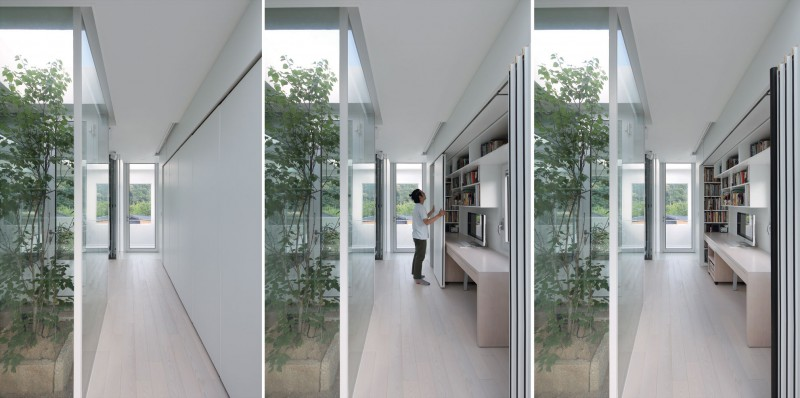 9x9 experimental house by studio archiholic for Moving glass walls