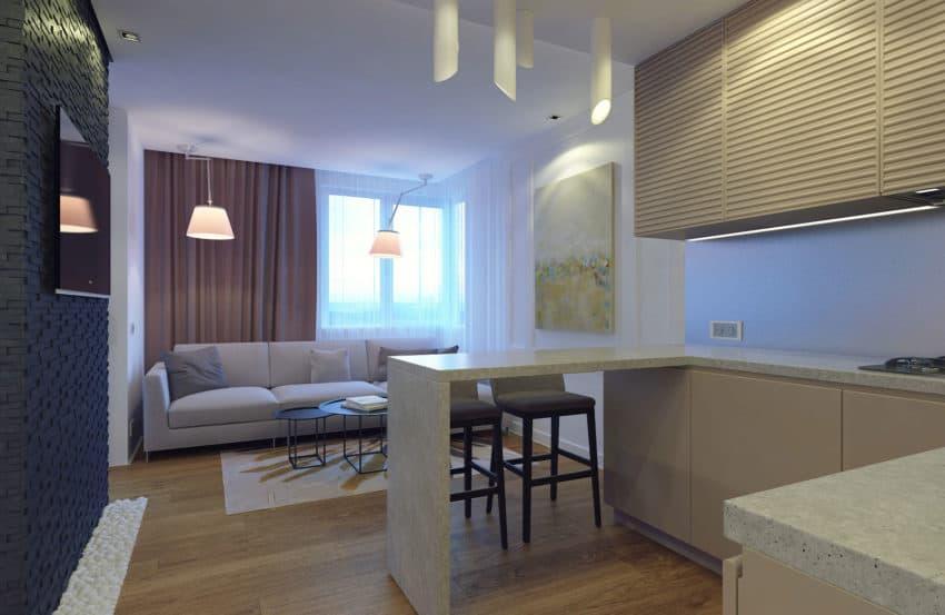 Eugene meshcheruk designs cozy 500 square foot apartment - How big is 500 square feet apartment ...