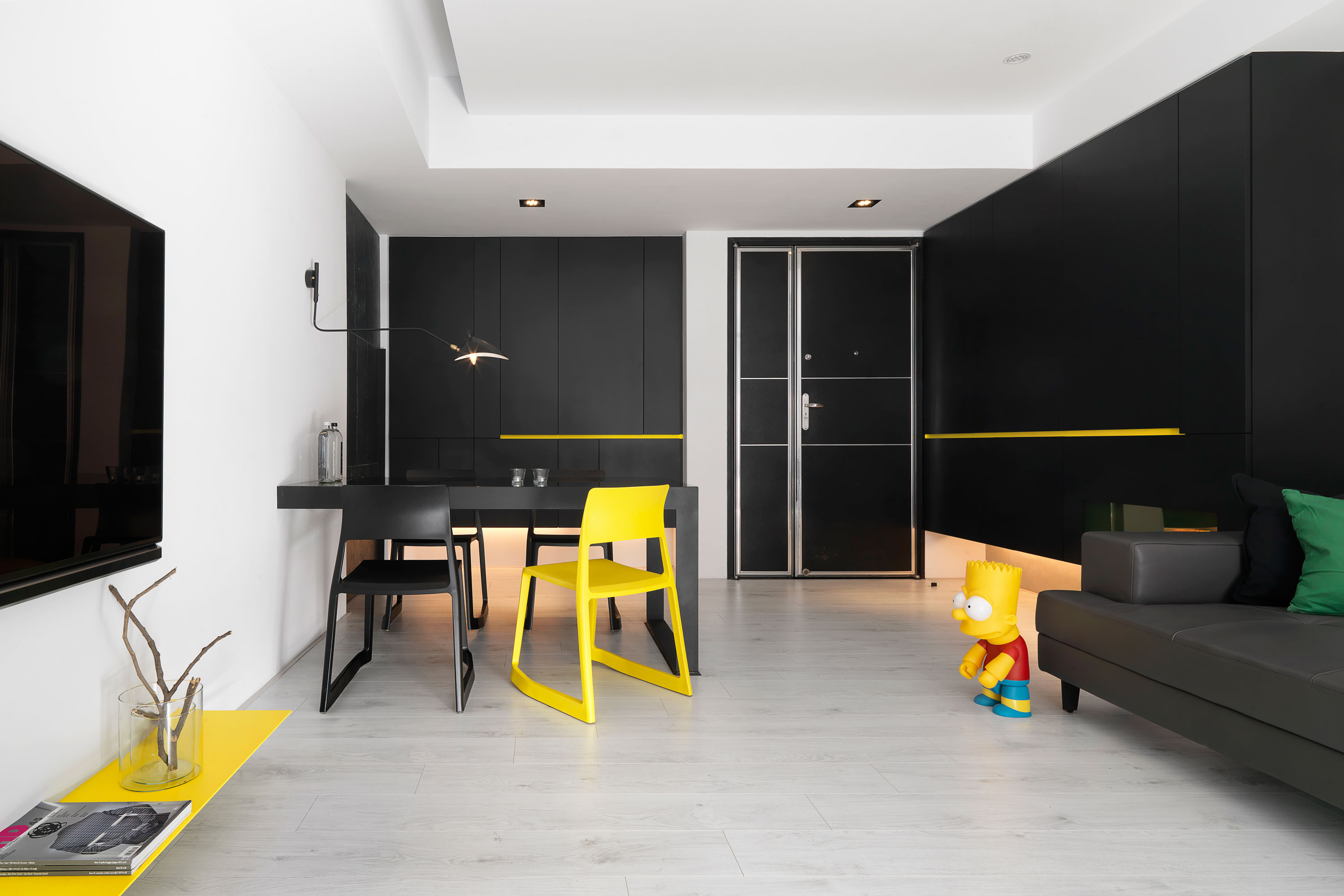 AXIS DESIGN Creates a Stylish, Contrast-Strong Apartment in Taiwan