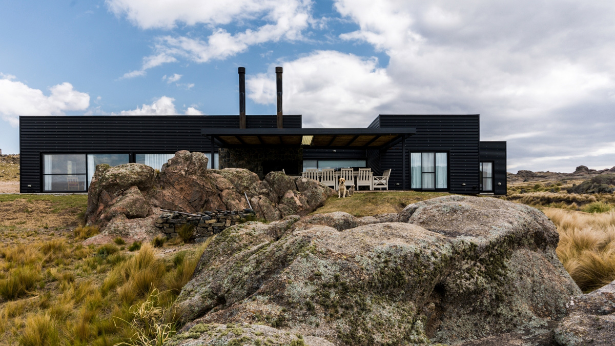 A Private Residence Surrounded by the Rocky Landscape of Pocho, Argentina