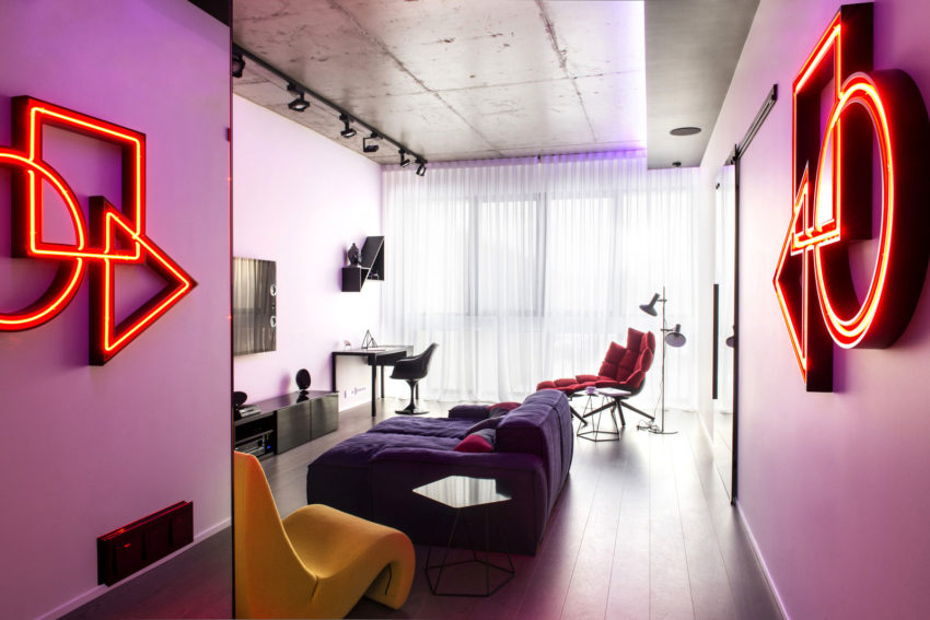 Geometrix Design Create an Apartment in Moscow Filled with Neon Lights