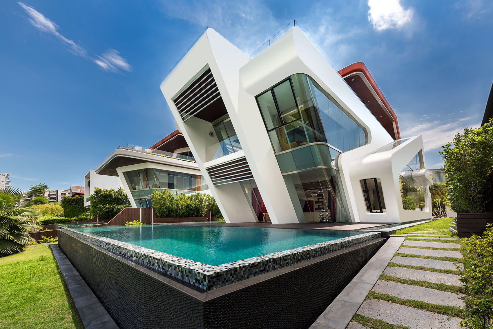 Mercurio design lab create a modern villa in singapore for Beautiful villa design