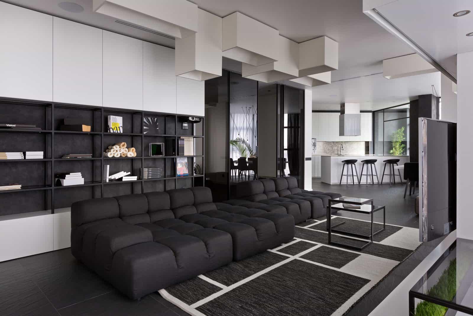 Lera katasonova design creates a black and white apartment for a young couple
