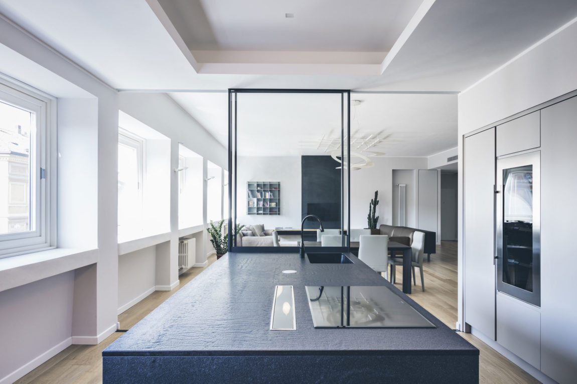 A minimalist contemporary interior in milan