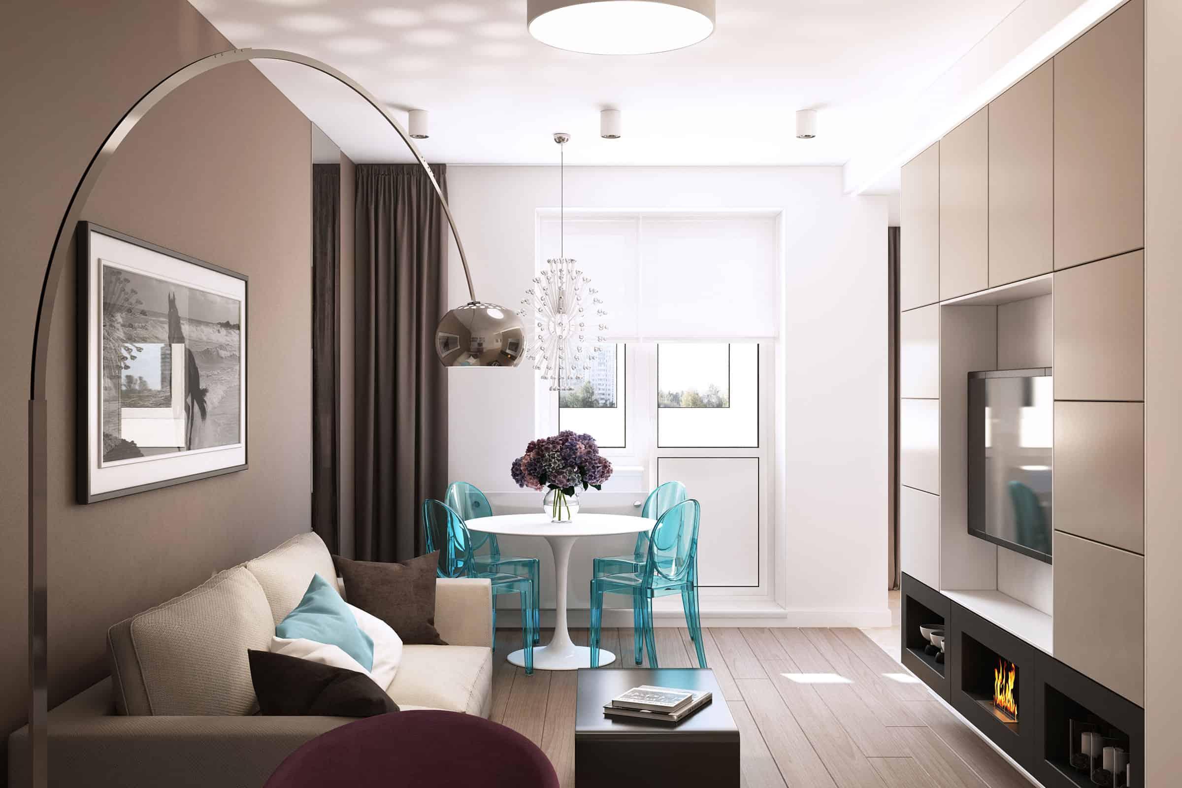 Дизайн квартиры для молодой девушки. визуализация интерьера .