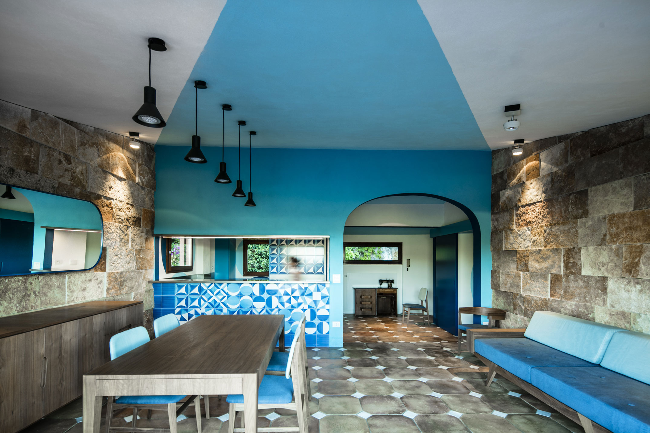 Filippo bombace architect creates an apartment in blue in porto santo stefano italy