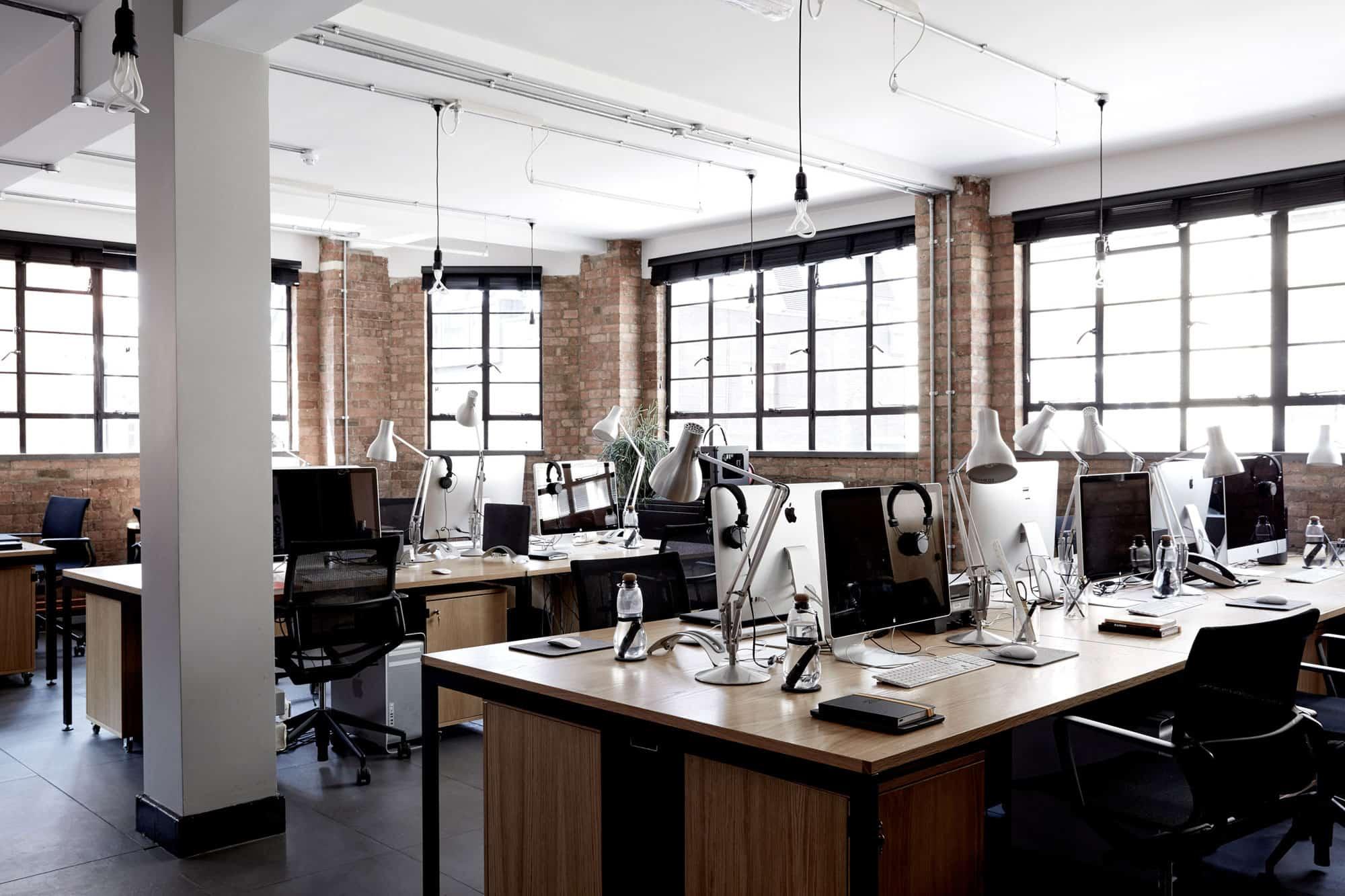 Studio four23 39 s self designed office inside former metal for Interior design workshop