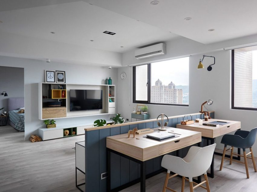 Remodeled Stalinist Style Apartment was converted into a Modern Space with  a Retro Touch