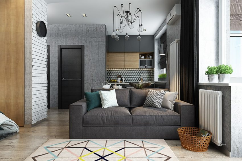 comfortable and practical small home designs under fifty square metersSmall Square Livingroom Design #15