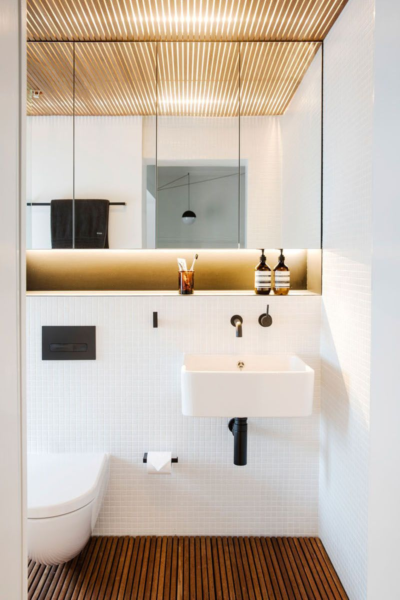 Popular  in gallery Small bathroom in white with wooden floors