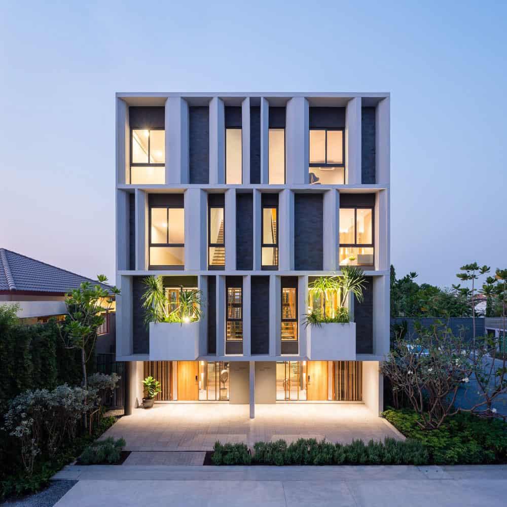 Best Exterior Home Design 2017: A Contemporary 3-Storey Townhome In Bangkok, Thailand