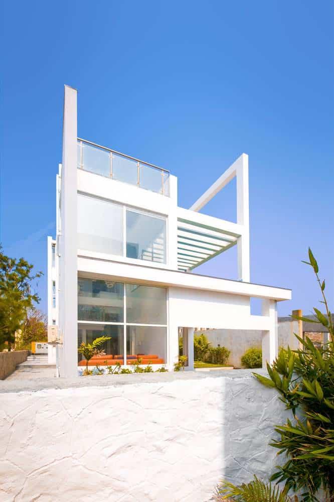 Coastal villa located in chennai india designed by for Exterior home design in chennai