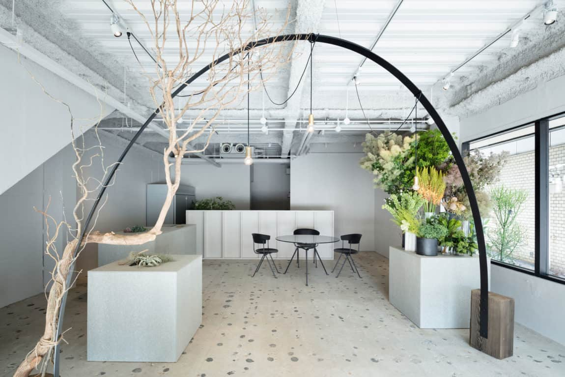 Interior of the calm and serene interior of the atelier where the white design dominates