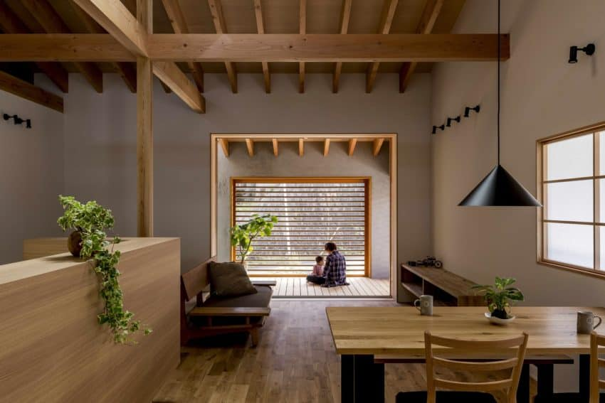 View of the warm and cozy interior with beautiful wooden floors and ceilings