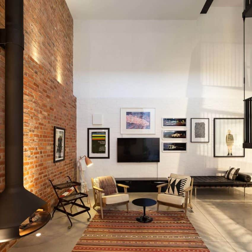 ... Living Room With Brick Wall, Fireplace, And Modern Furniture ...
