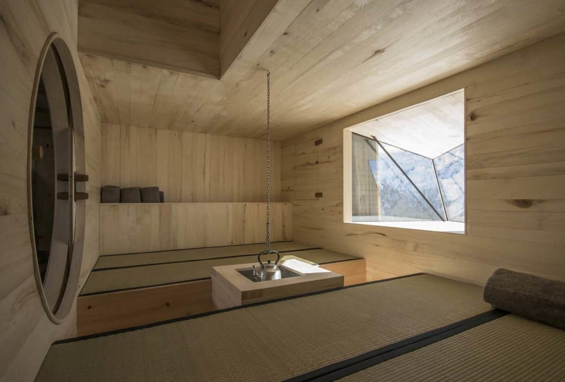 Remodeled interior space made of light wood