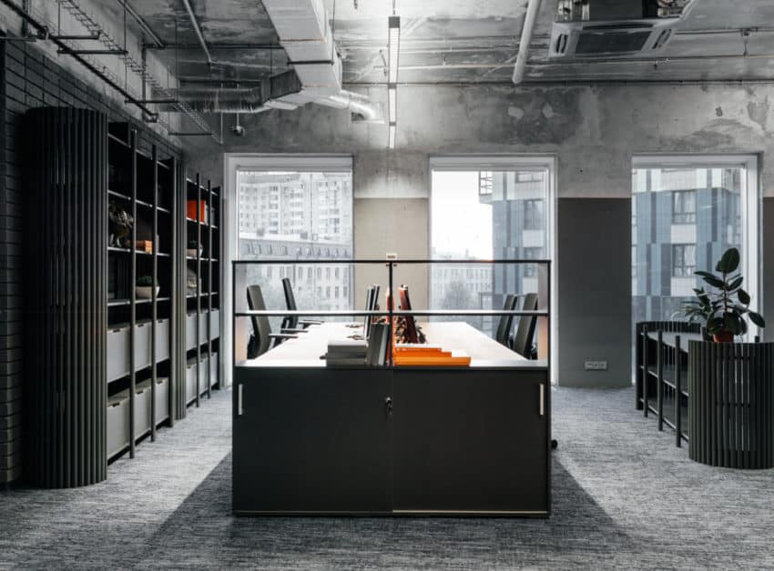 Nastya Kolchina builds beautifully industrial chic offices for Expert Electric Company
