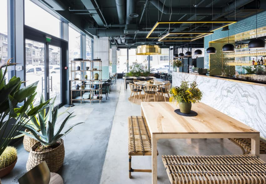 Kane World Food Studio by Bogdan Ciocodeică created in Bucharest with a mixture of materials and an emphasis on greenery