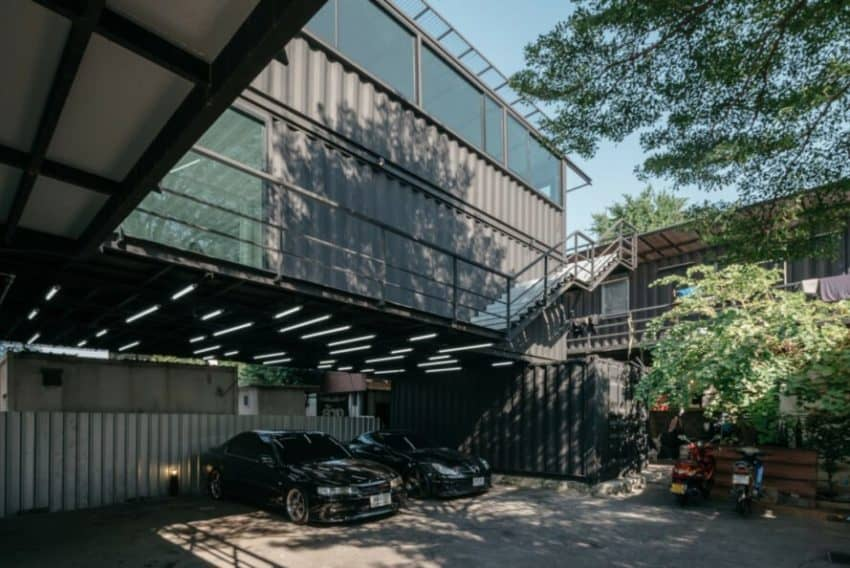 Shipping Container Carpark by Archimontage Design Fields
