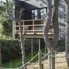 Treehouse balcony and wooden stairs