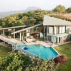 Drift House on Little Much Farm earial view with pool