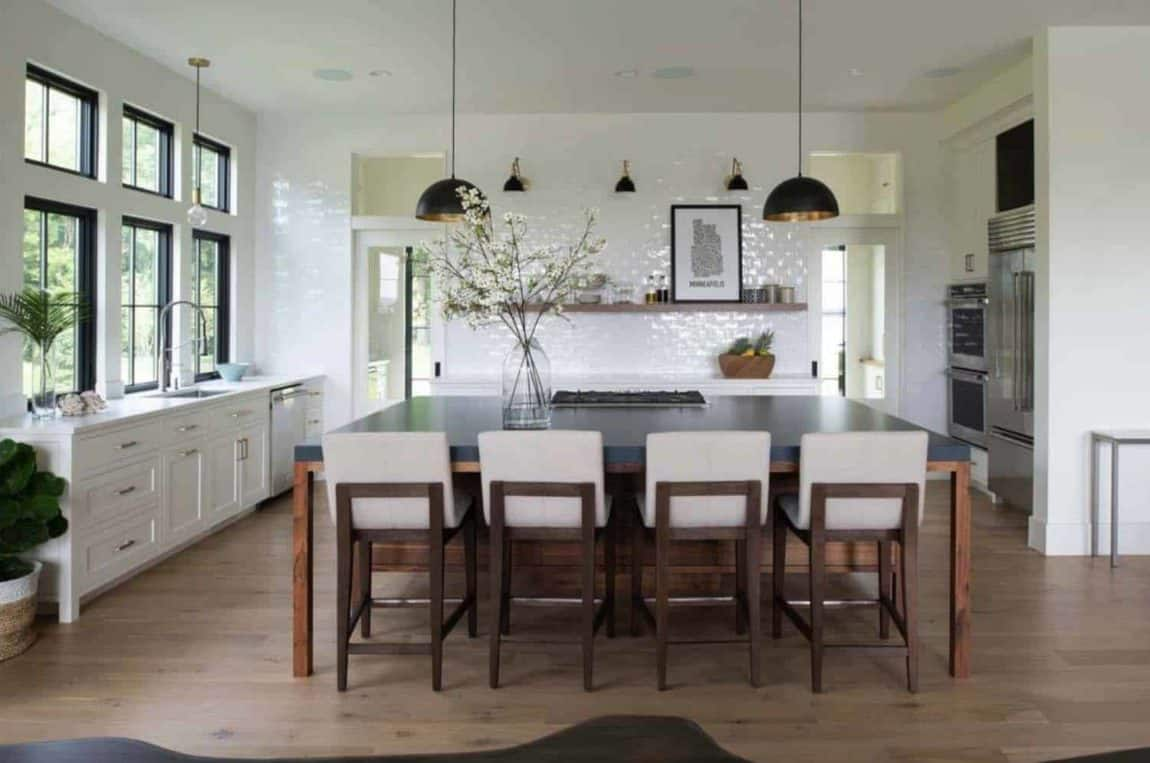 Modern Dutch Colonial kitchen and island