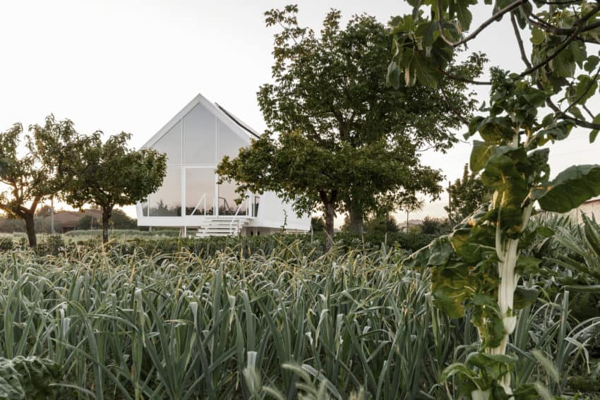 Modular dwelling called House in the Orchard creatednby LDA.iMdA architetti associati as a unique interpretation of shape and minimalism